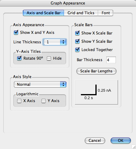 Axis and scale bar