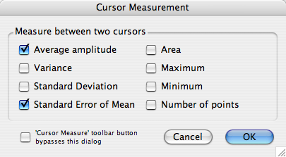 Cursor Measure Optoins